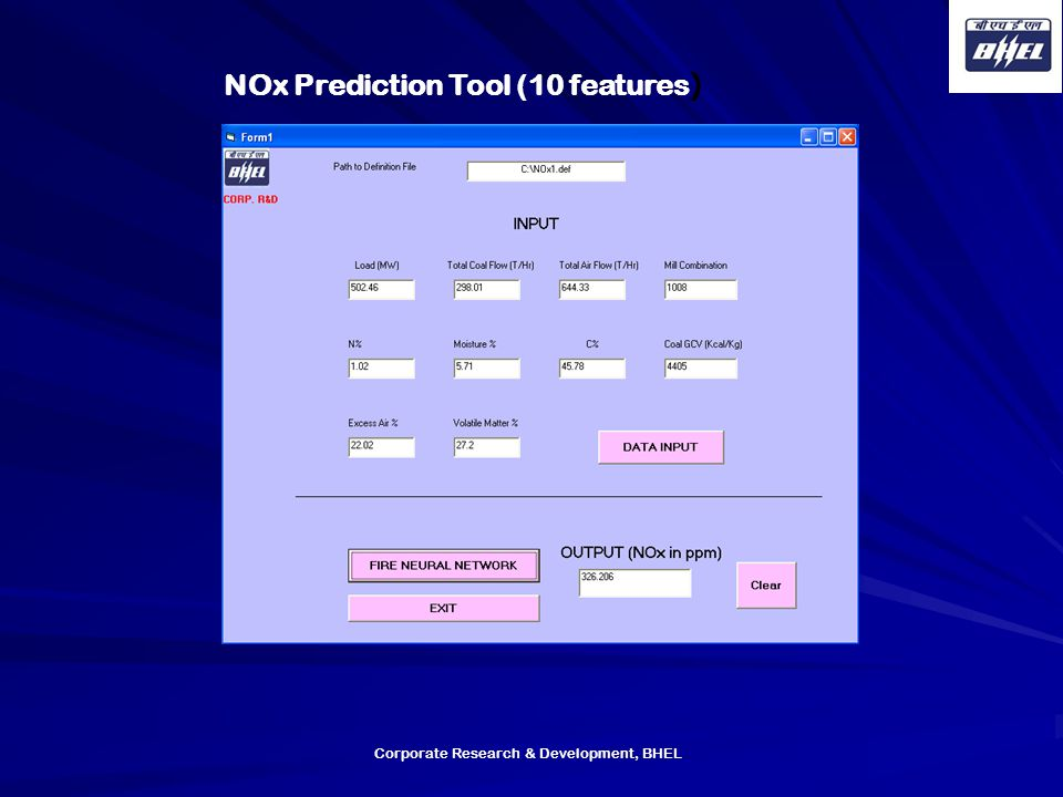 NOx Prediction Tool (10 features)