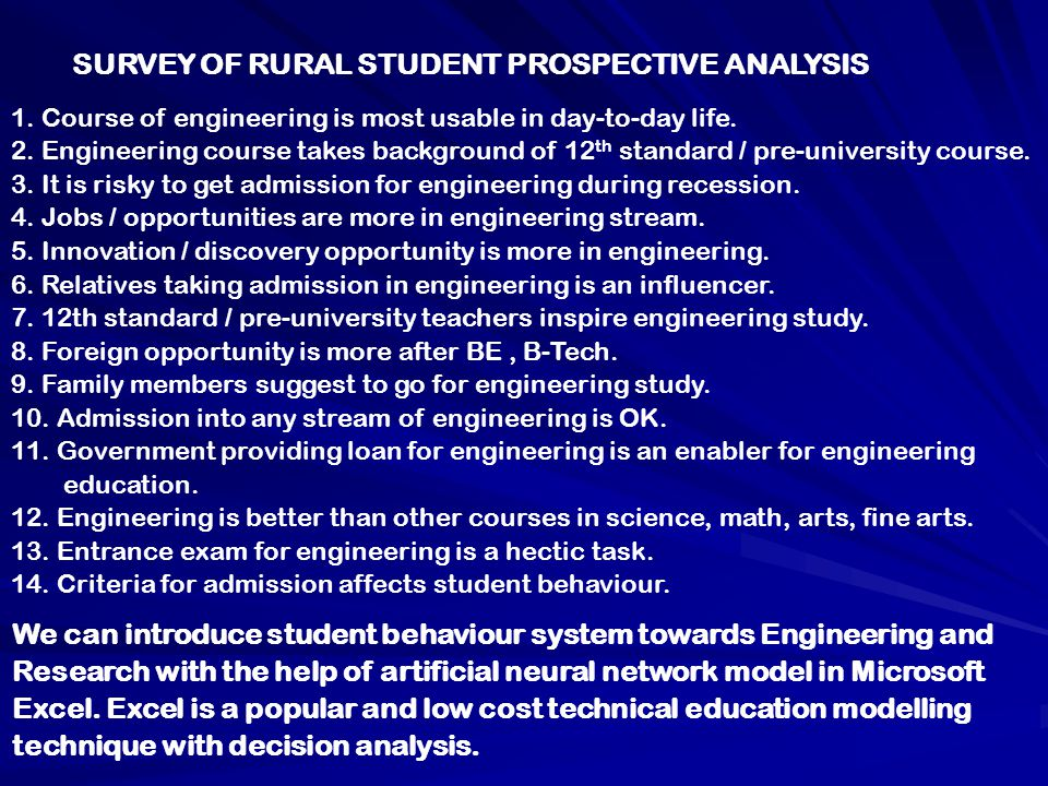 SURVEY OF RURAL STUDENT PROSPECTIVE ANALYSIS