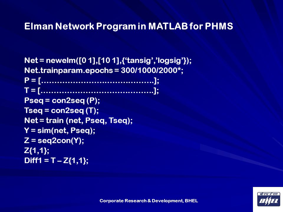 Elman Network Program in MATLAB for PHMS