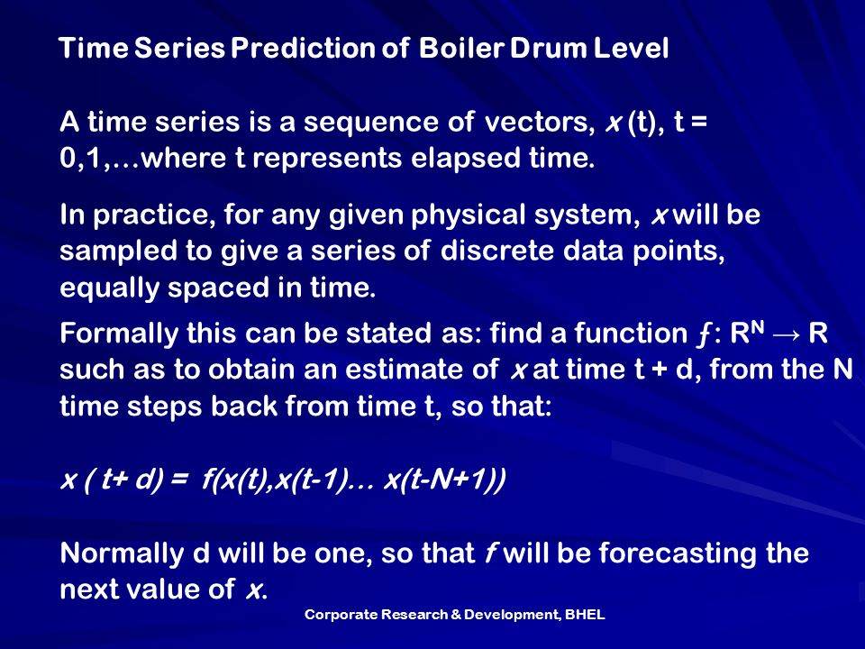 Time Series Prediction of Boiler Drum Level