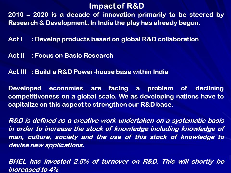 Impact of R&D 2010 – 2020 is a decade of innovation primarily to be steered by Research & Development. In India the play has already begun.