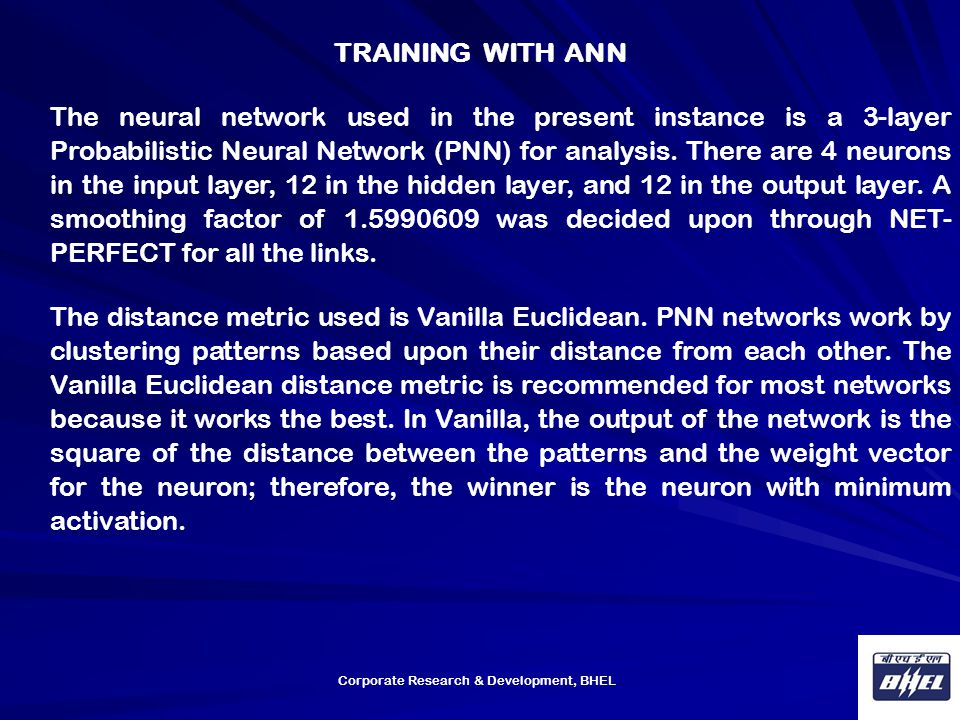 TRAINING WITH ANN