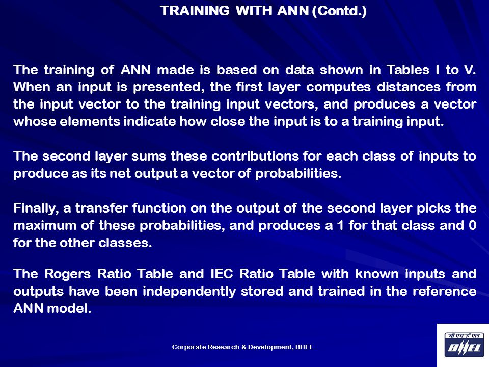 TRAINING WITH ANN (Contd.)