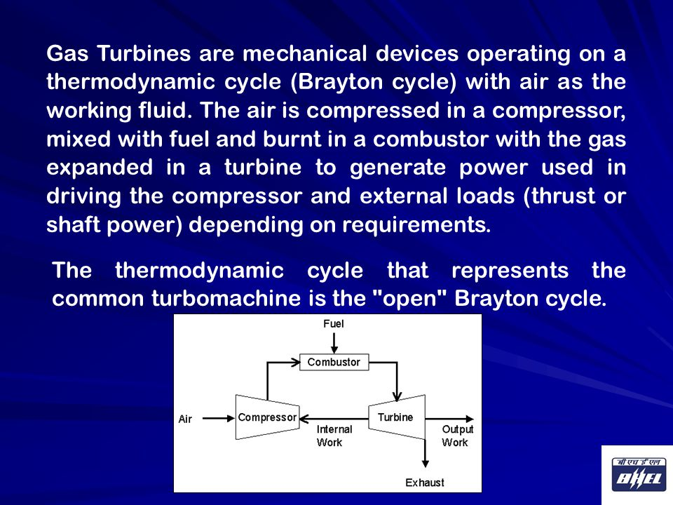 Gas Turbines are mechanical devices operating on a thermodynamic cycle (Brayton cycle) with air as the working fluid. The air is compressed in a compressor, mixed with fuel and burnt in a combustor with the gas expanded in a turbine to generate power used in driving the compressor and external loads (thrust or shaft power) depending on requirements.