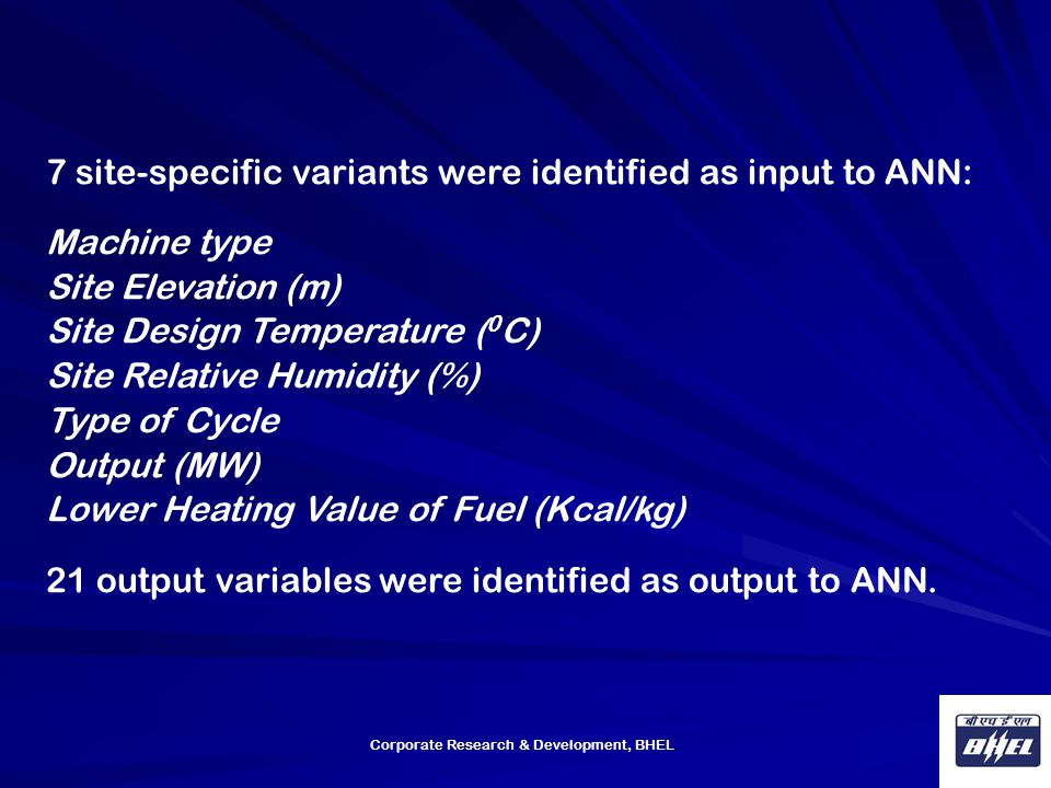 7 site-specific variants were identified as input to ANN: Machine type