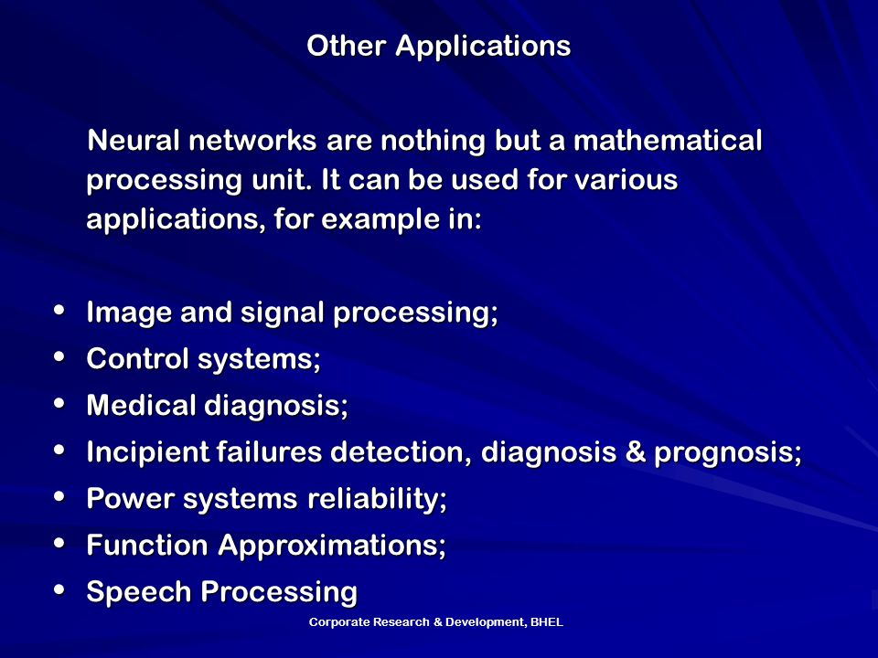 Image and signal processing; Control systems; Medical diagnosis;