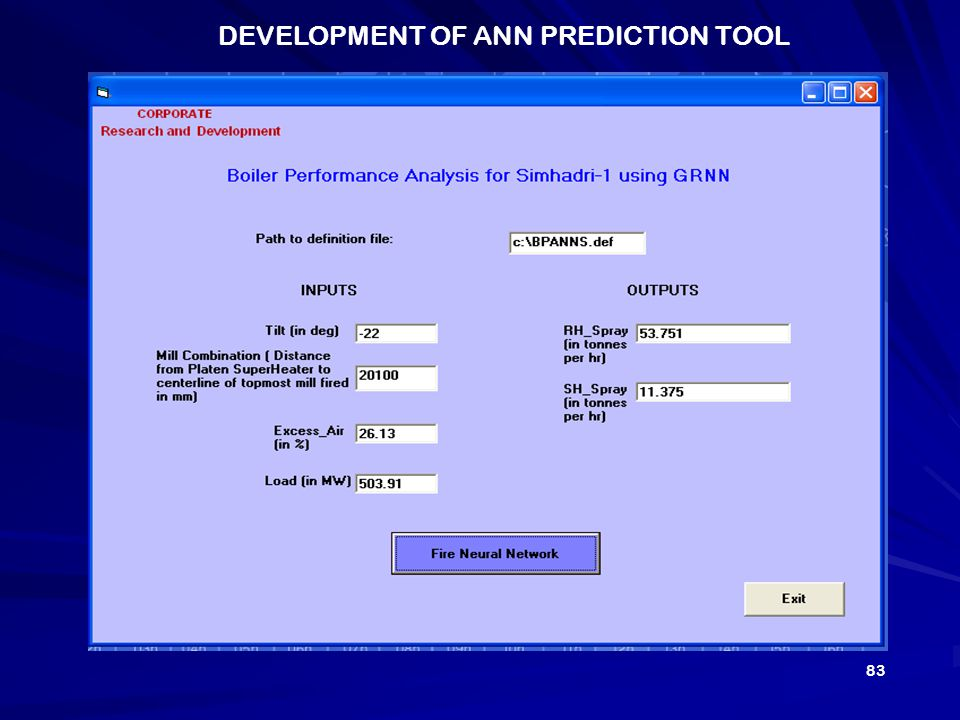 DEVELOPMENT OF ANN PREDICTION TOOL