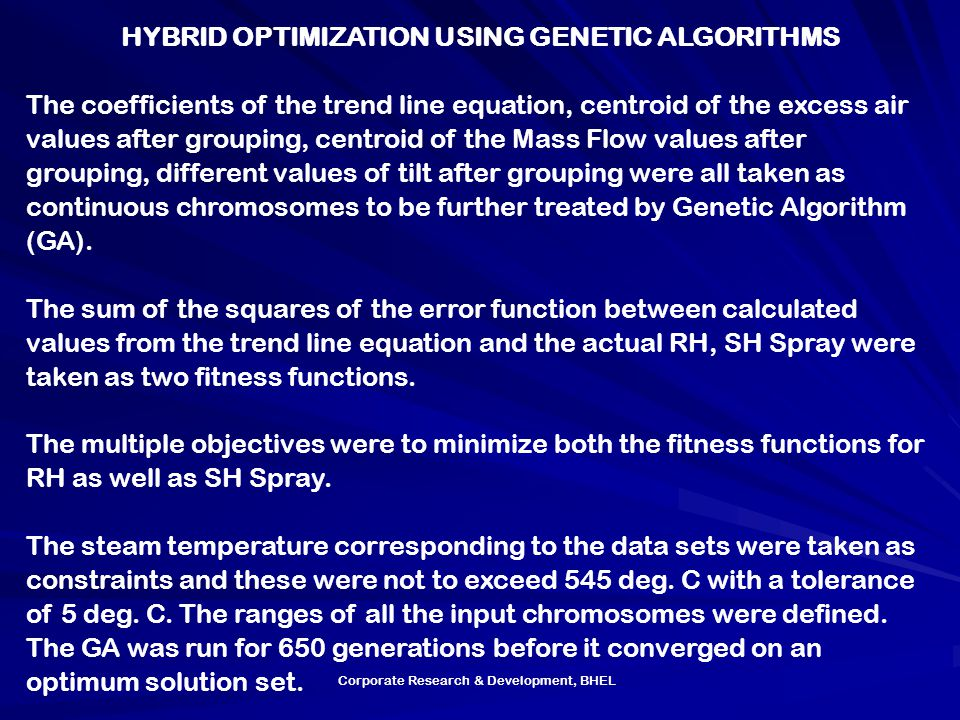 HYBRID OPTIMIZATION USING GENETIC ALGORITHMS