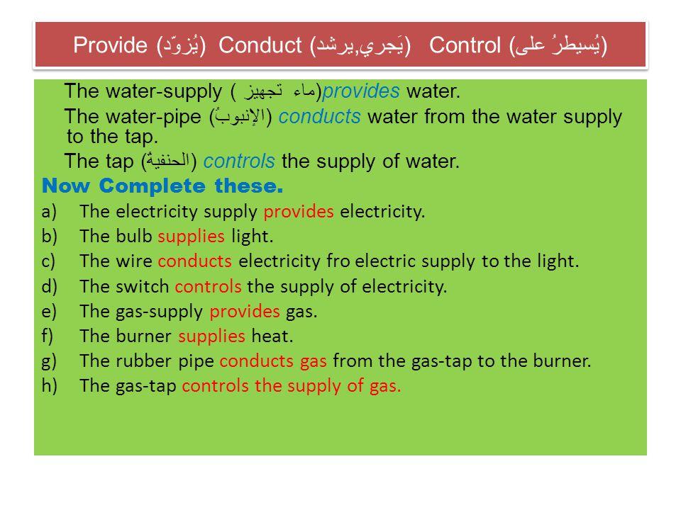 Provide (يُزوّد) Conduct (يرشد,يَجري) Control (يُسيطرُ على)