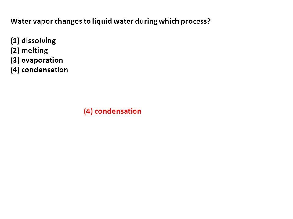 Water vapor changes to liquid water during which process