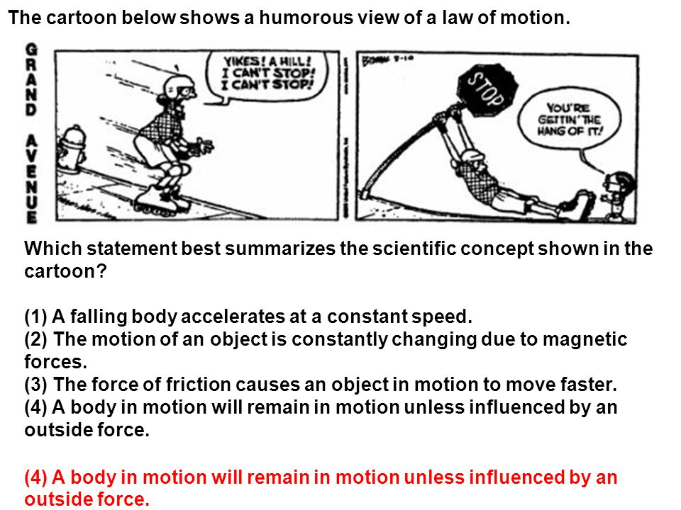 The cartoon below shows a humorous view of a law of motion.