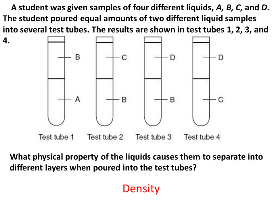 A student was given samples of four different liquids, A, B, C, and D