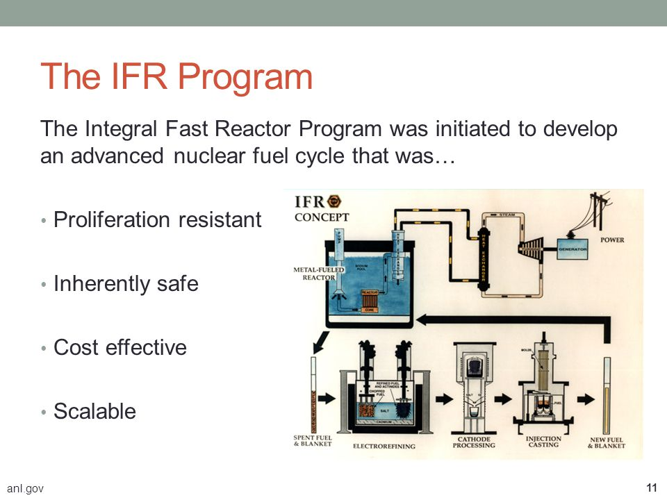 The IFR Program The Integral Fast Reactor Program was initiated to develop an advanced nuclear fuel cycle that was…