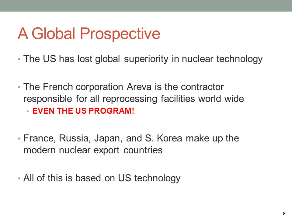 A Global Prospective The US has lost global superiority in nuclear technology.