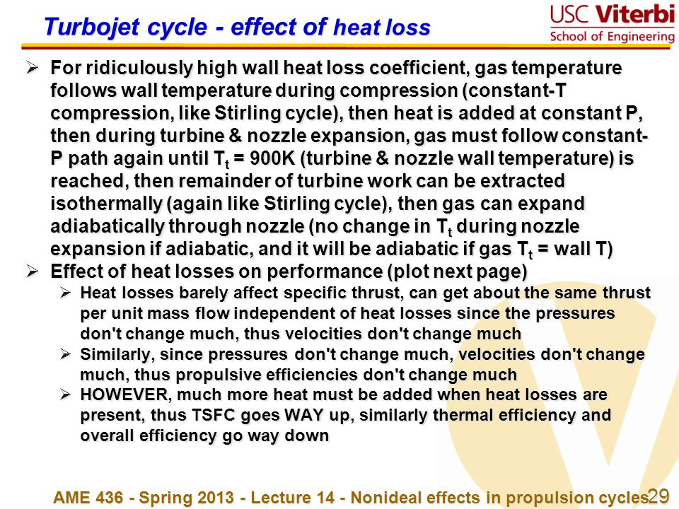 Turbojet cycle - effect of heat loss