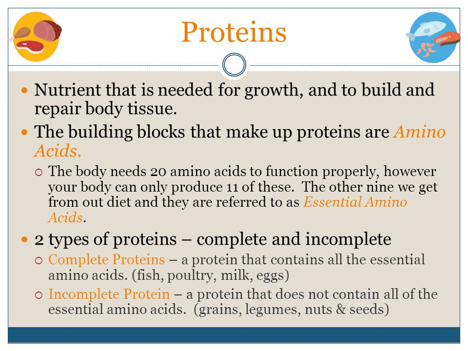 Proteins Nutrient that is needed for growth, and to build and repair body tissue. The building blocks that make up proteins are Amino Acids.