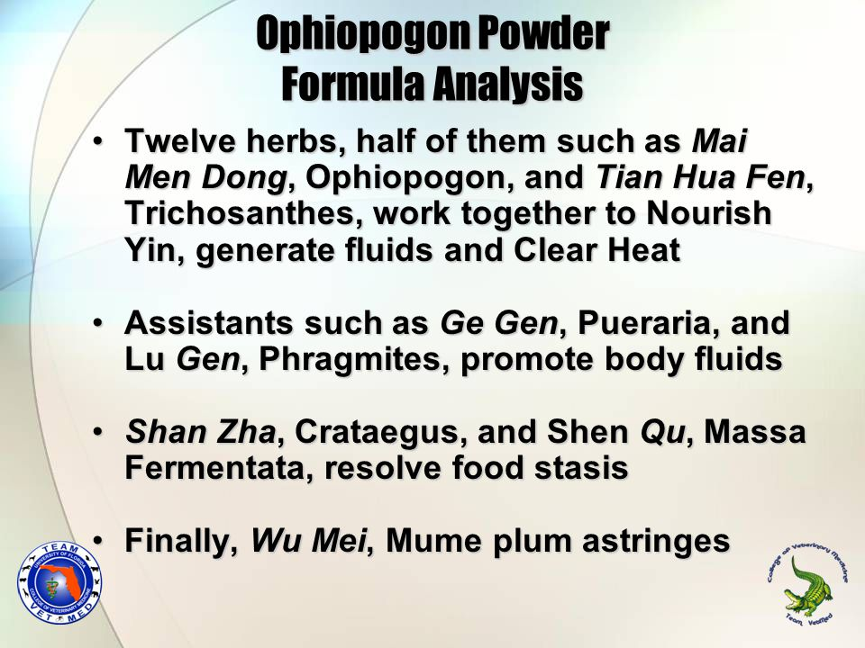 Ophiopogon Powder Formula Analysis