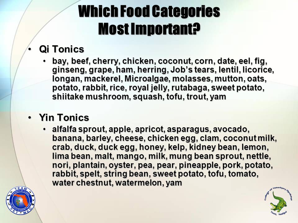 Which Food Categories Most Important