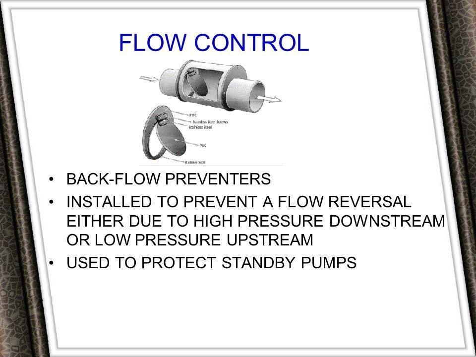 FLOW CONTROL BACK-FLOW PREVENTERS