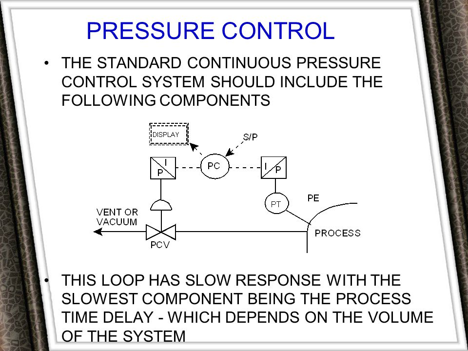 PRESSURE CONTROL THE STANDARD CONTINUOUS PRESSURE CONTROL SYSTEM SHOULD INCLUDE THE FOLLOWING COMPONENTS.