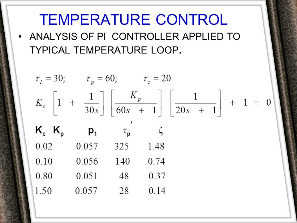 TEMPERATURE CONTROL Analysis of PI Controller Applied to Typical Temperature Loop.