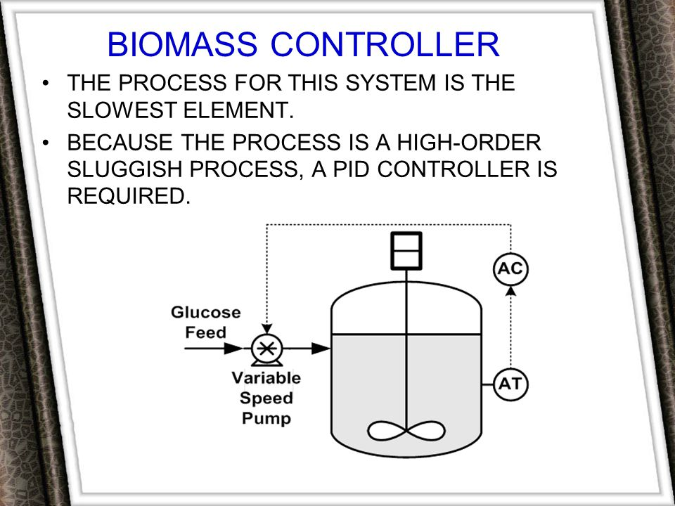 Biomass Controller The process for this system is the slowest element.