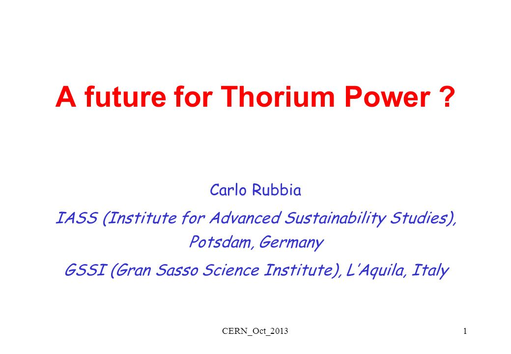 A future for Thorium Power