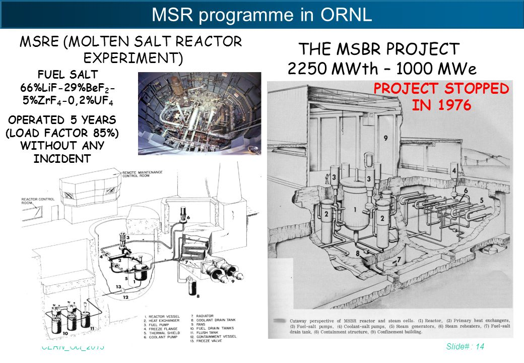 MSR programme in ORNL THE MSBR PROJECT 2250 MWth – 1000 MWe