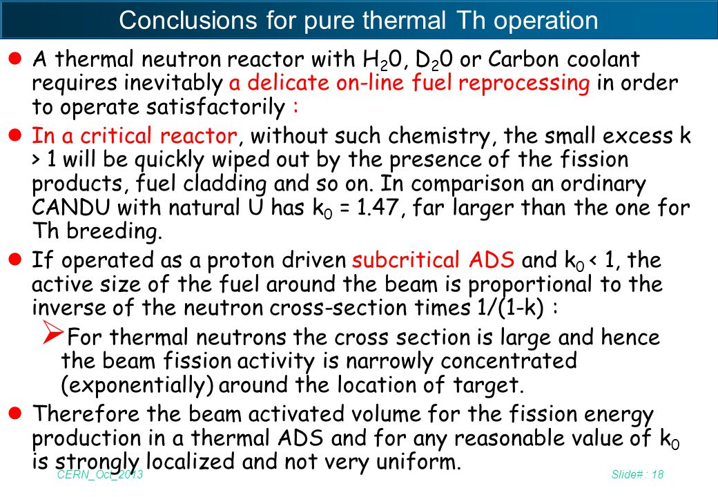 Conclusions for pure thermal Th operation