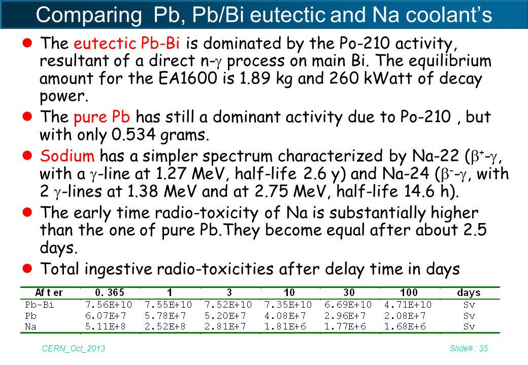 Comparing Pb, Pb/Bi eutectic and Na coolant's