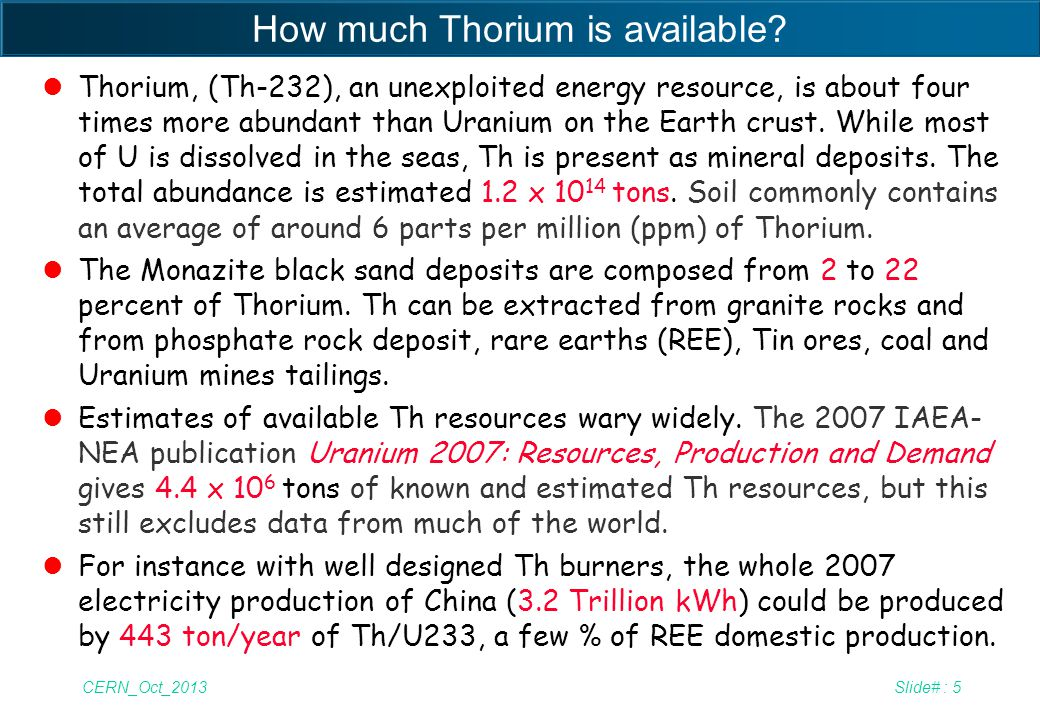 How much Thorium is available