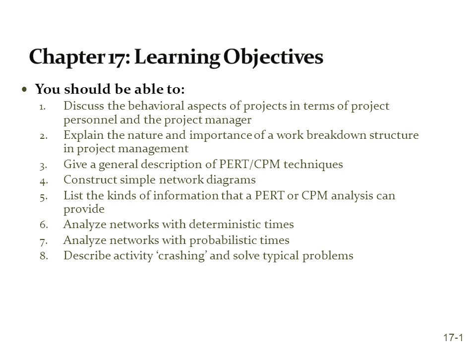 Chapter 17: Learning Objectives