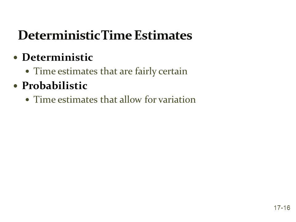 Deterministic Time Estimates