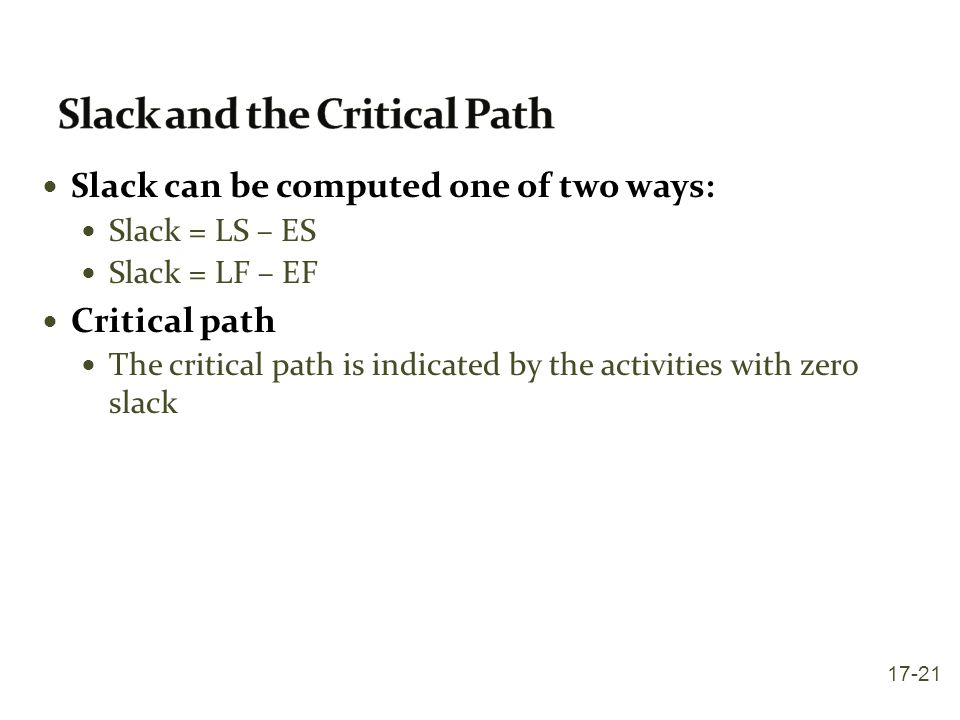 Slack and the Critical Path