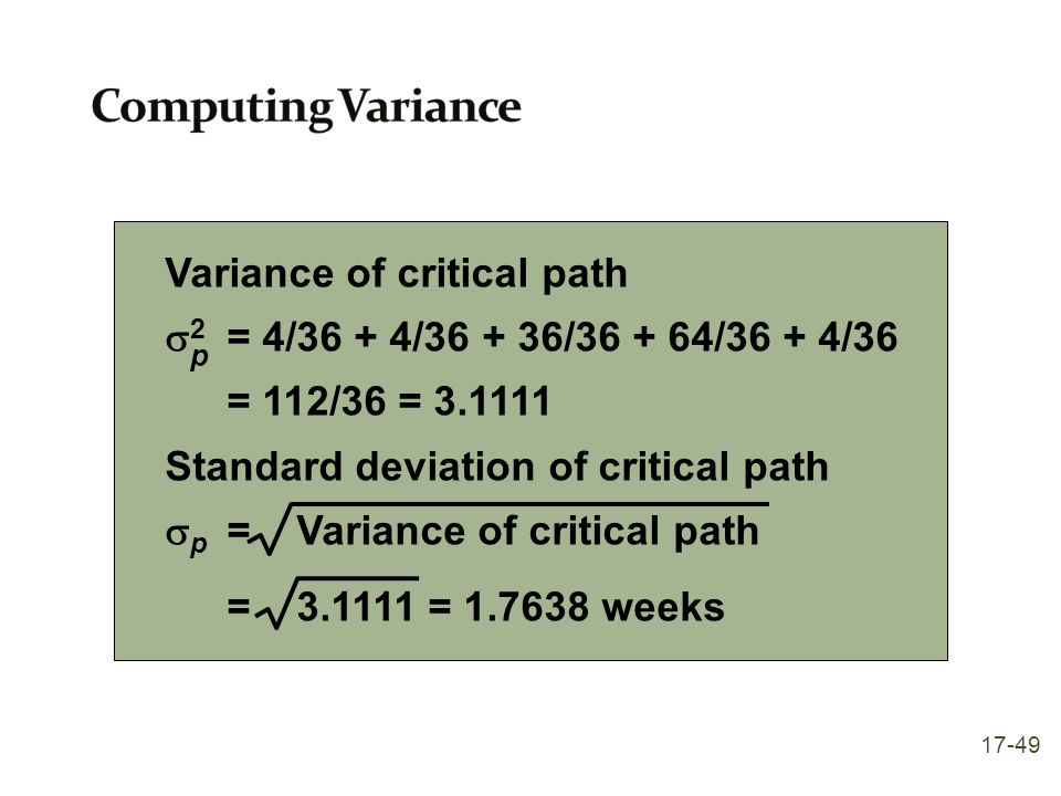 Computing Variance Variance of critical path