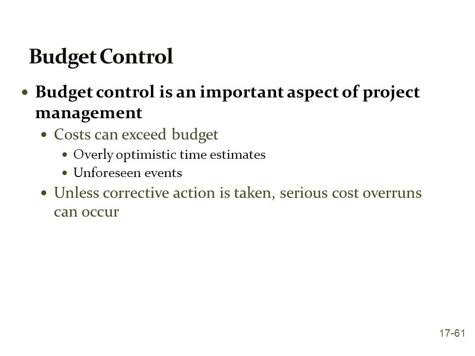 Budget Control Budget control is an important aspect of project management. Costs can exceed budget.