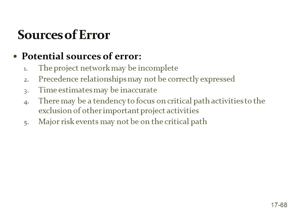 Sources of Error Potential sources of error: