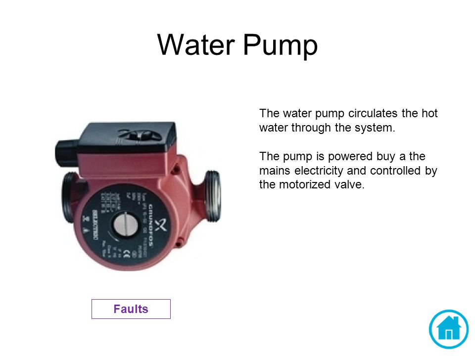 Water Pump The water pump circulates the hot water through the system.