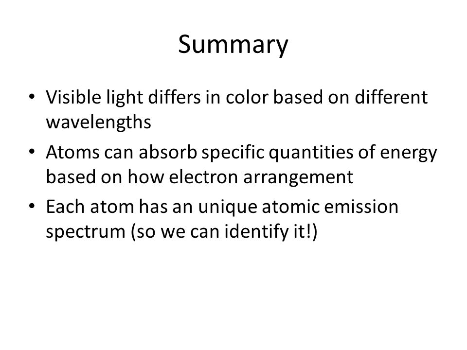 Summary Visible light differs in color based on different wavelengths