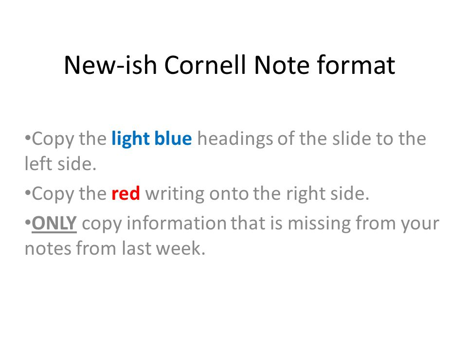 New-ish Cornell Note format