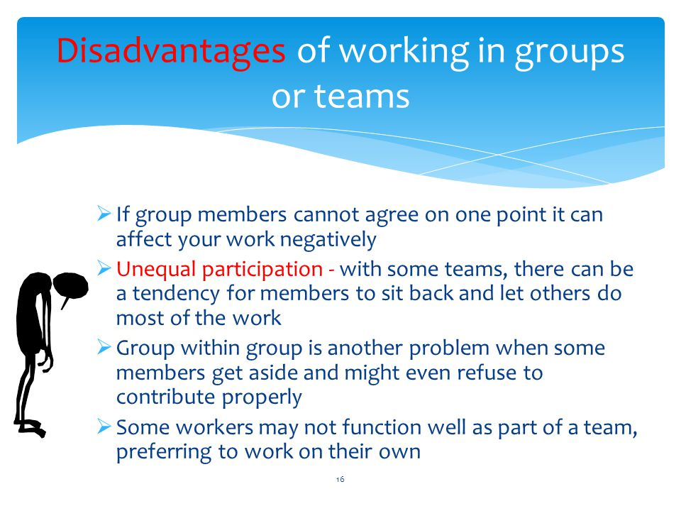 Disadvantages of working in groups or teams