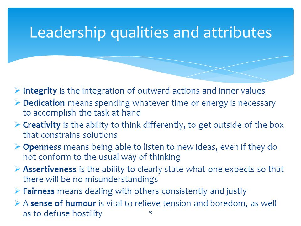 Leadership qualities and attributes