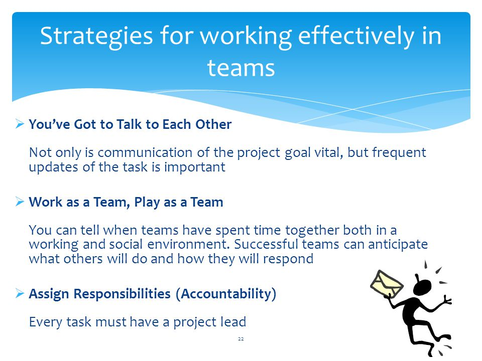 Strategies for working effectively in teams