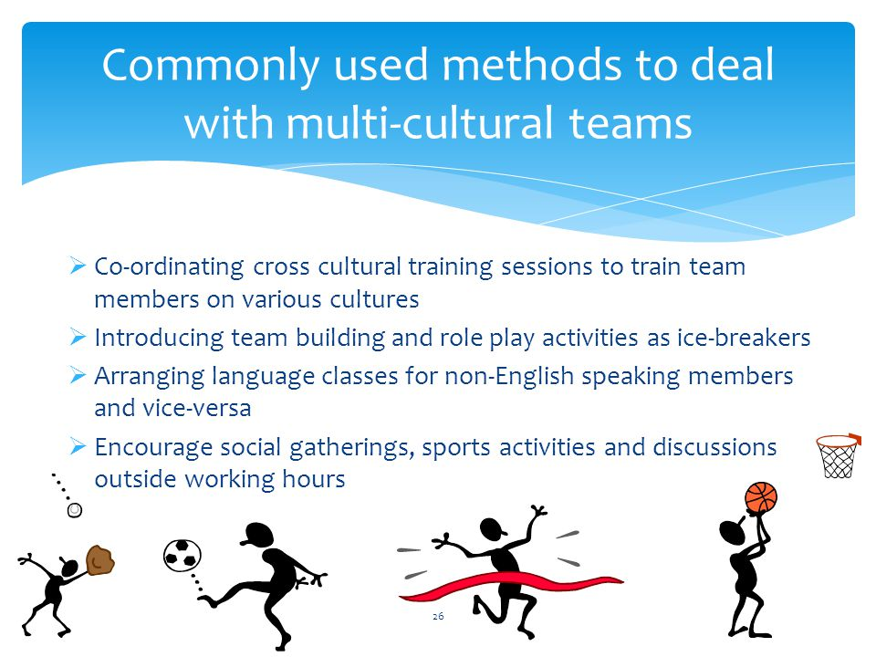 Commonly used methods to deal with multi-cultural teams