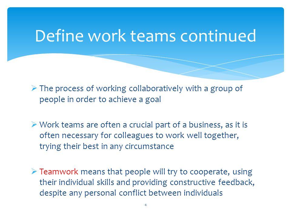 Define work teams continued
