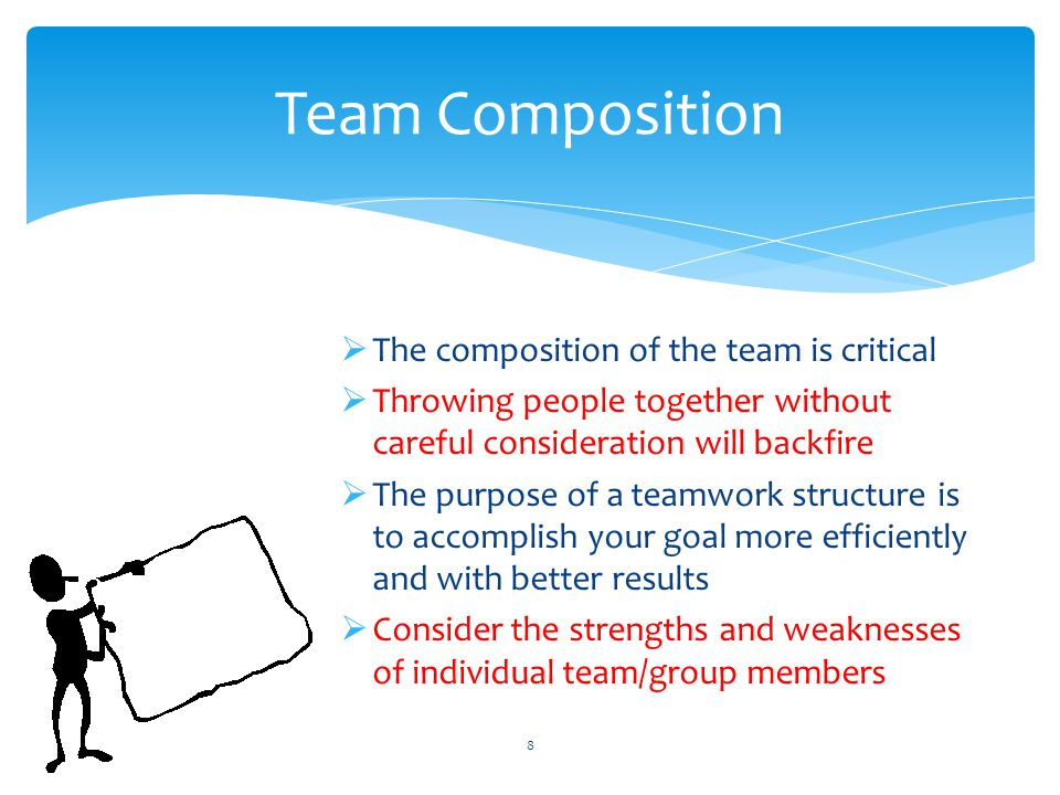 Team Composition The composition of the team is critical
