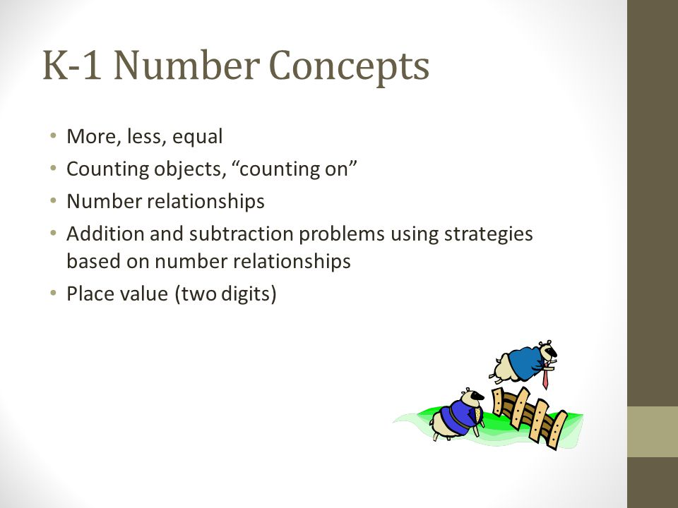 K-1 Number Concepts More, less, equal Counting objects, counting on