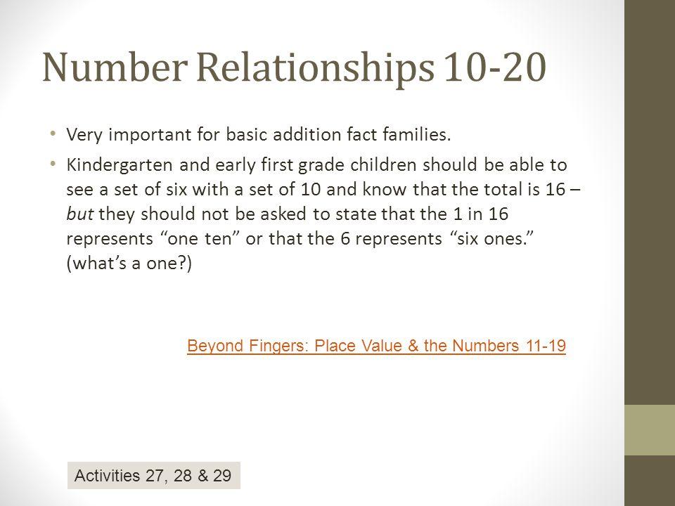 Number Relationships 10-20