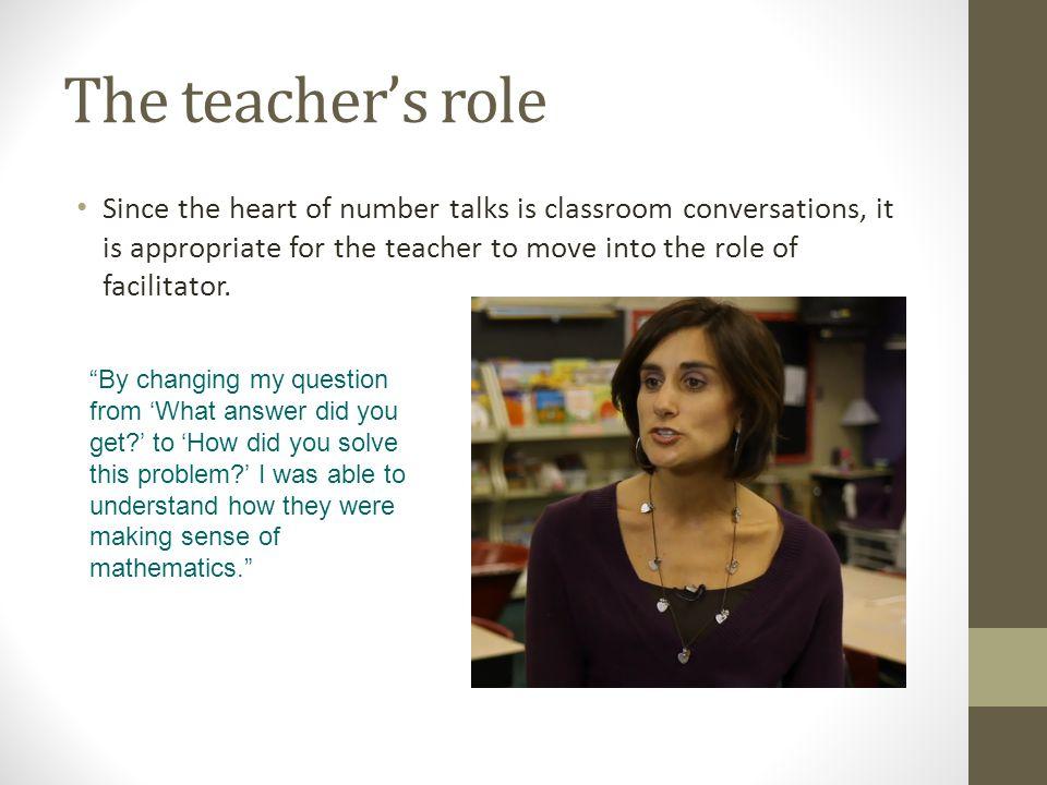 The teacher's role