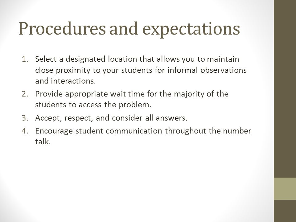 Procedures and expectations